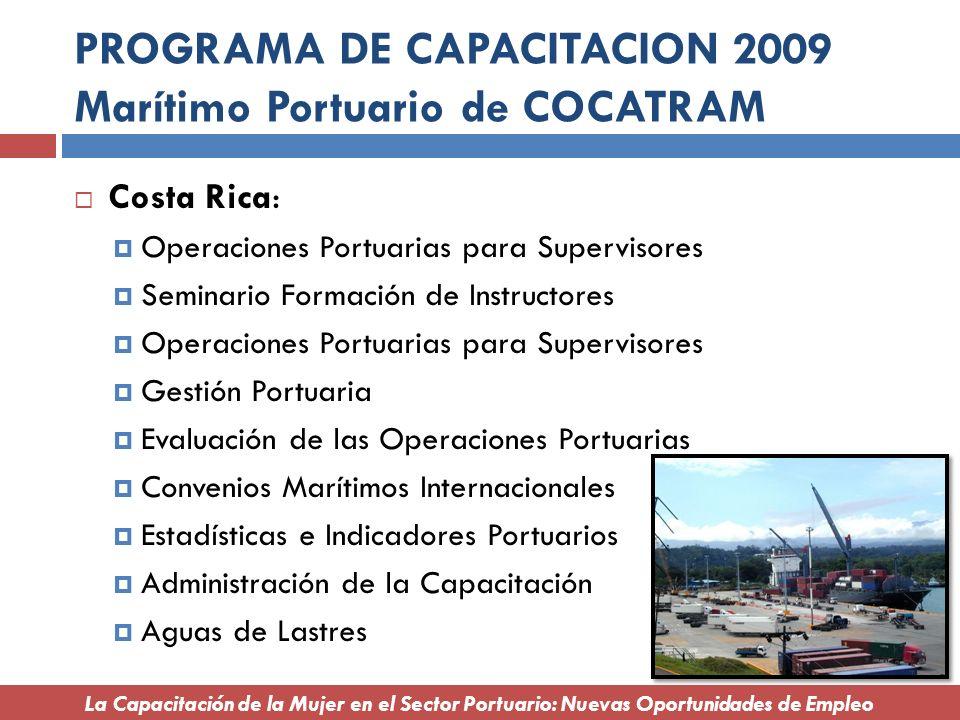 PROGRAMA DE CAPACITACION 2009 Marítimo Portuario de COCATRAM Costa Rica: Operaciones Portuarias para Supervisores Seminario Formación de Instructores