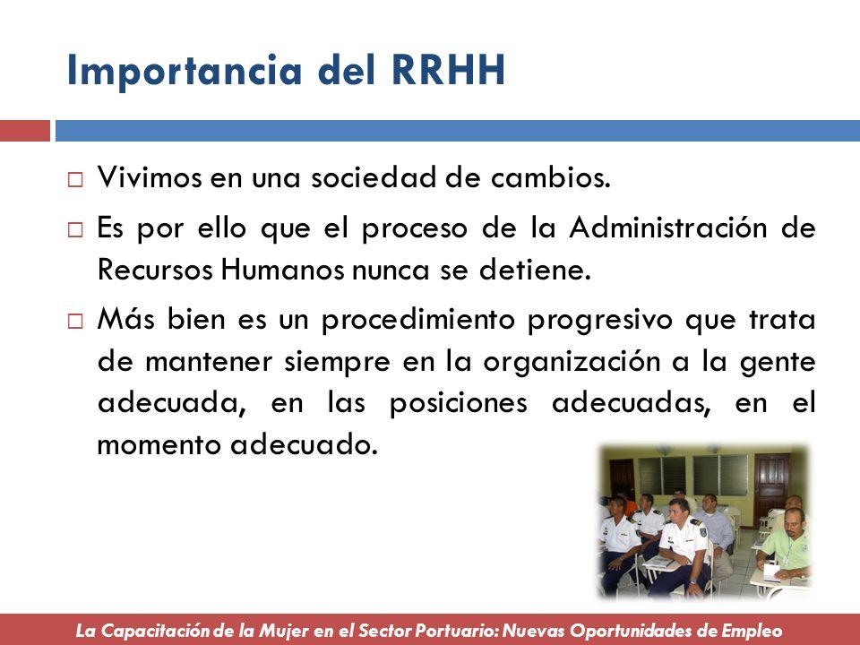 Importancia del RRHH Vivimos en una sociedad de cambios. Es por ello que el proceso de la Administración de Recursos Humanos nunca se detiene. Más bie