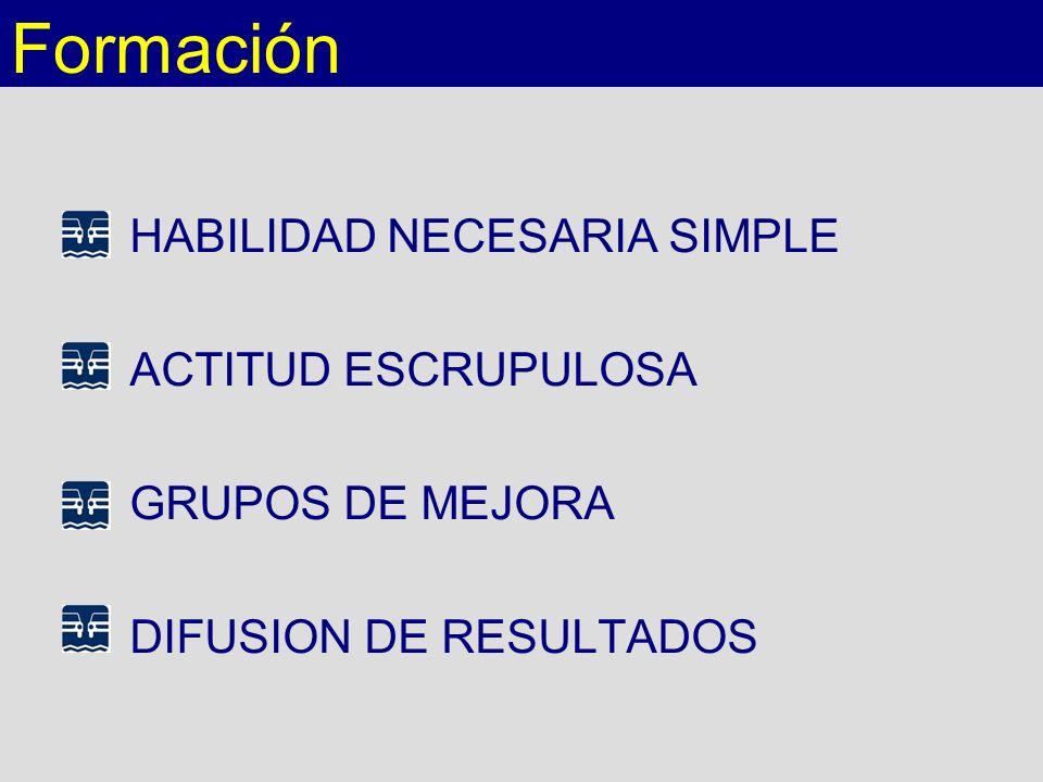 HABILIDAD NECESARIA SIMPLE ACTITUD ESCRUPULOSA GRUPOS DE MEJORA DIFUSION DE RESULTADOS Formación