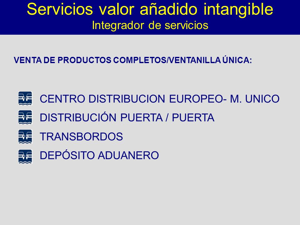 VENTA DE PRODUCTOS COMPLETOS/VENTANILLA ÚNICA: Servicios valor añadido intangible Integrador de servicios CENTRO DISTRIBUCION EUROPEO- M. UNICO DISTRI