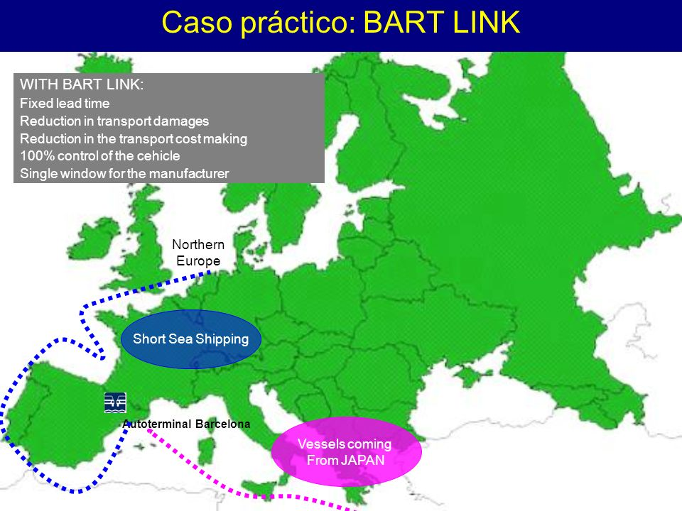 Caso práctico: BART LINK Autoterminal Barcelona Northern Europe Short Sea Shipping WITH BART LINK: Fixed lead time Reduction in transport damages Redu