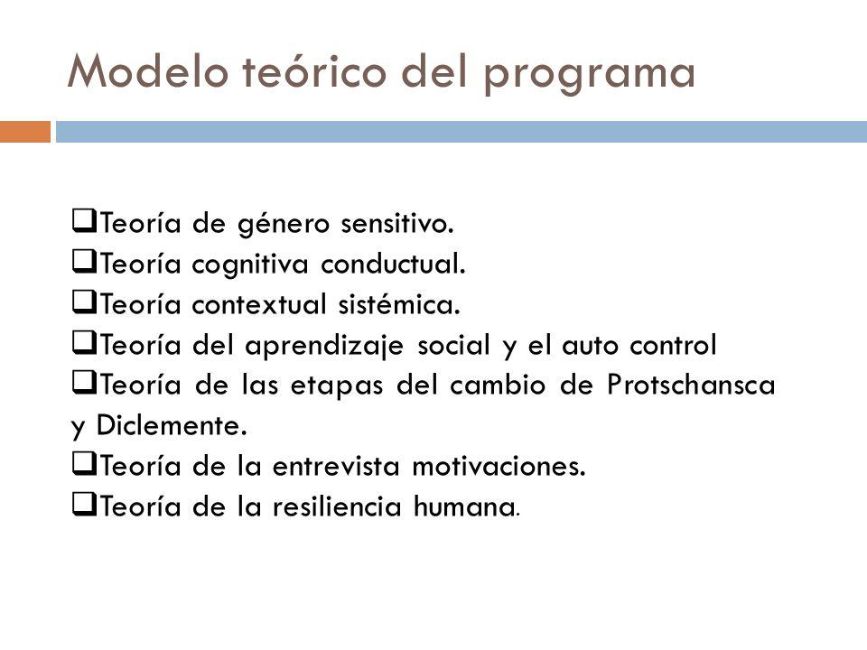 Modelo teórico del programa Teoría de género sensitivo. Teoría cognitiva conductual. Teoría contextual sistémica. Teoría del aprendizaje social y el a