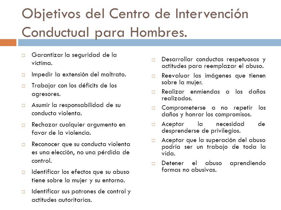 Objetivos del Centro de Intervención Conductual para Hombres. Garantizar la seguridad de la víctima. Impedir la extensión del maltrato. Trabajar con l