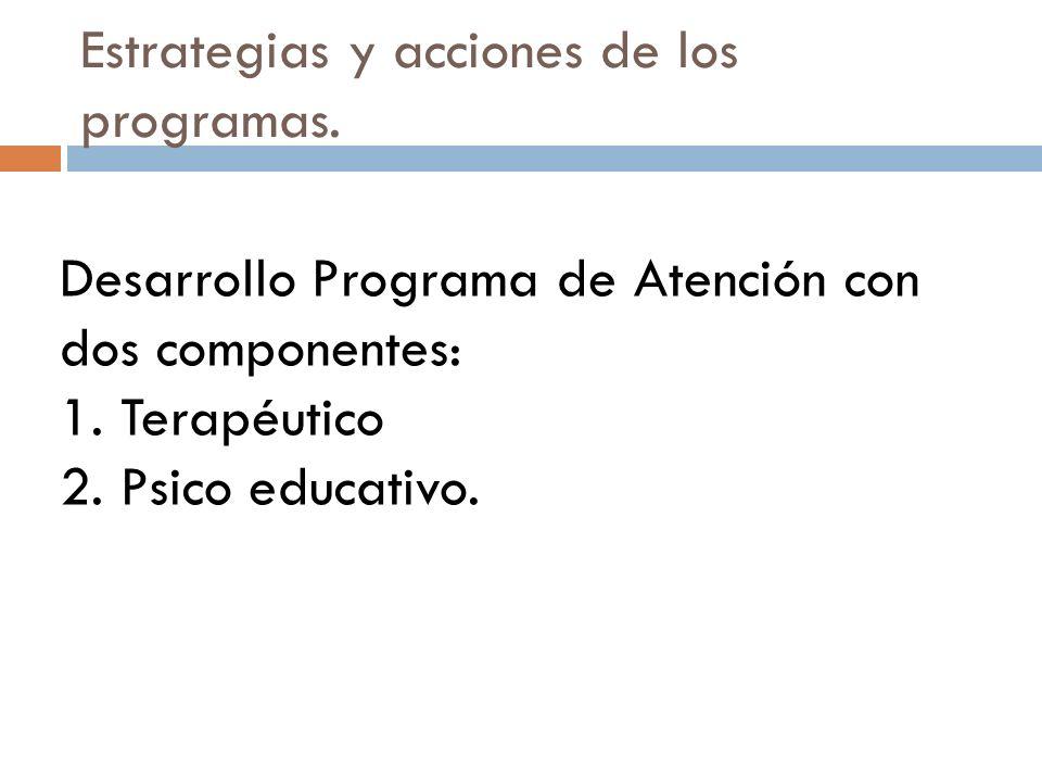Estrategias y acciones de los programas. Desarrollo Programa de Atención con dos componentes: 1. Terapéutico 2. Psico educativo.
