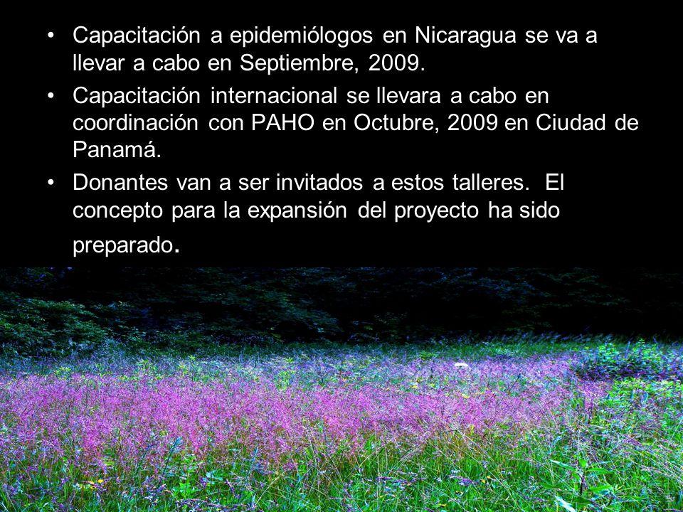 Capacitación a epidemiólogos en Nicaragua se va a llevar a cabo en Septiembre, 2009.