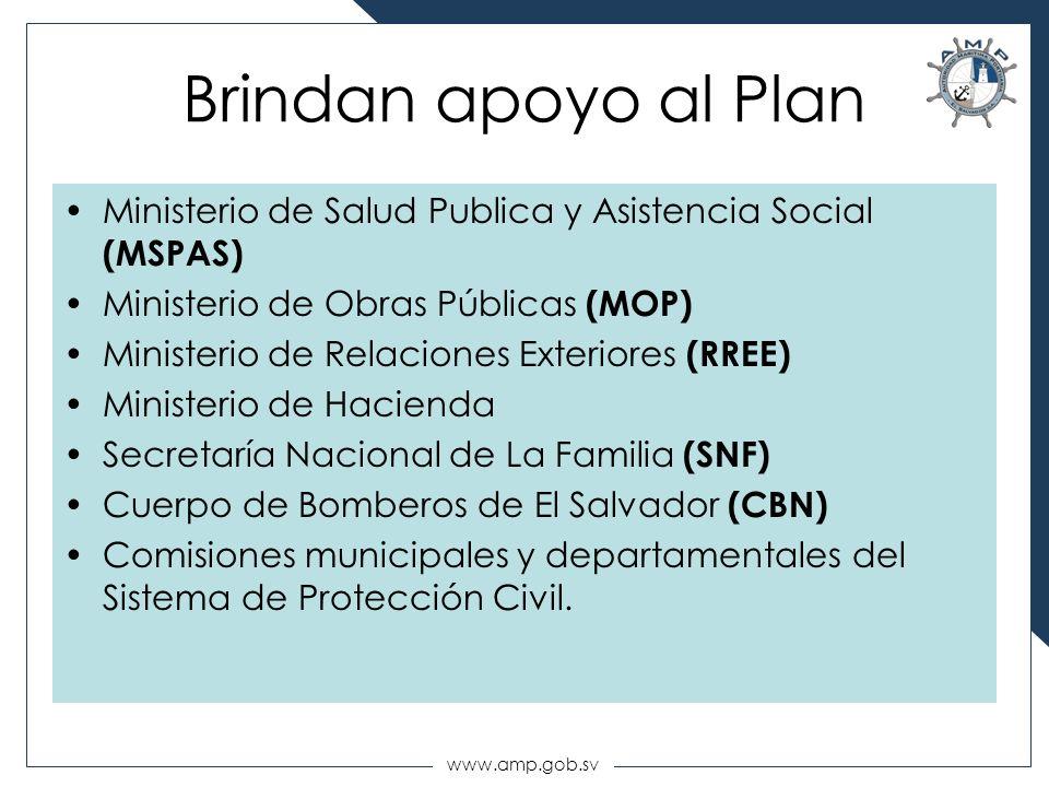 www.amp.gob.sv Brindan apoyo al Plan Ministerio de Salud Publica y Asistencia Social (MSPAS) Ministerio de Obras Públicas (MOP) Ministerio de Relacion