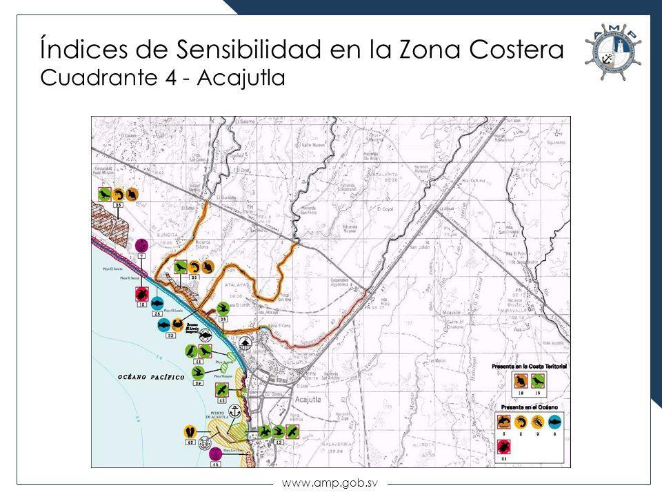 www.amp.gob.sv Índices de Sensibilidad en la Zona Costera Cuadrante 4 - Acajutla
