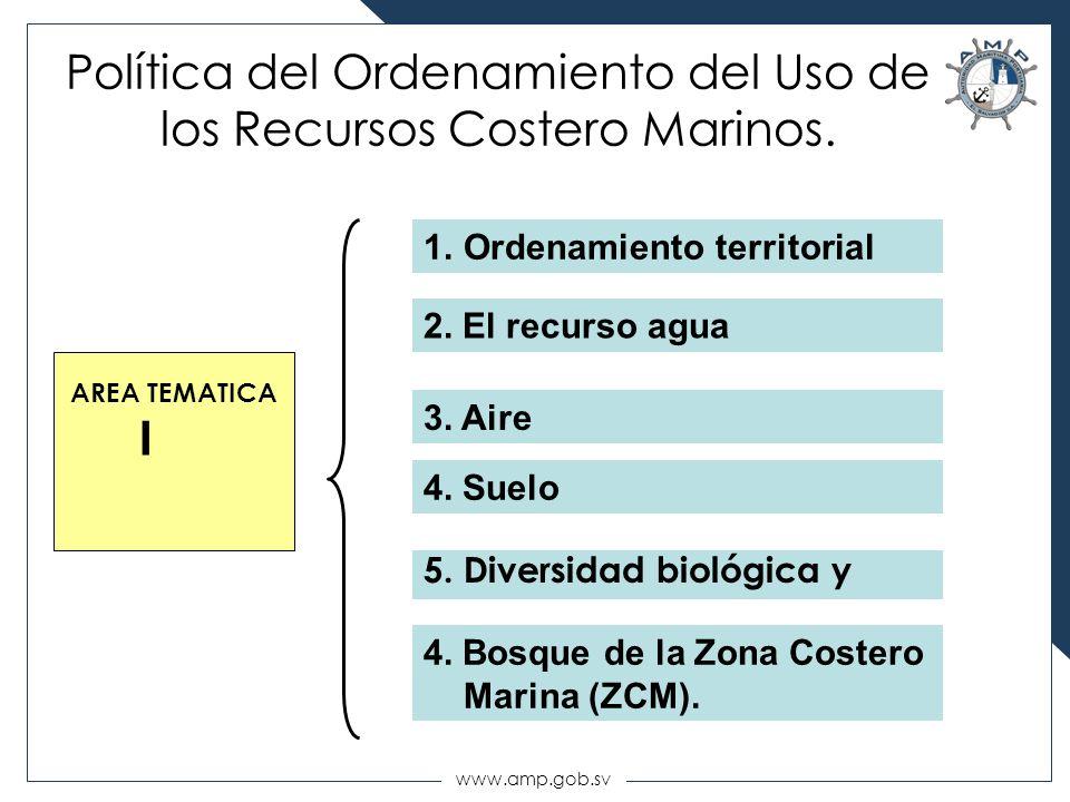 www.amp.gob.sv Política del Ordenamiento del Uso de los Recursos Costero Marinos. AREA TEMATICA I 5. Diversidad biológica y 1.Ordenamiento territorial