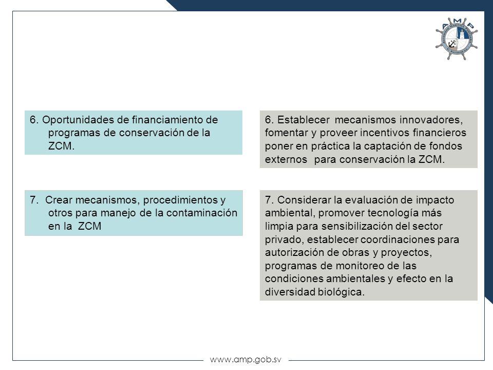 www.amp.gob.sv 6. Oportunidades de financiamiento de programas de conservación de la ZCM. 7. Crear mecanismos, procedimientos y otros para manejo de l