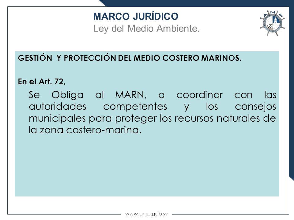 www.amp.gob.sv GESTIÓN Y PROTECCIÓN DEL MEDIO COSTERO MARINOS. En el Art. 72, Se Obliga al MARN, a coordinar con las autoridades competentes y los con