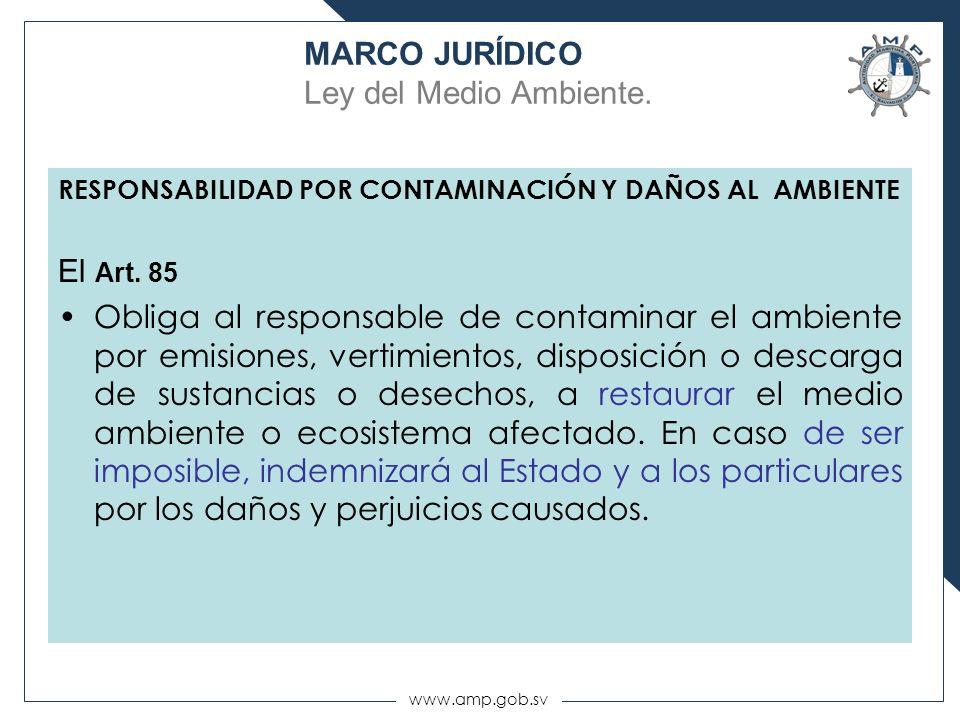 www.amp.gob.sv RESPONSABILIDAD POR CONTAMINACIÓN Y DAÑOS AL AMBIENTE El Art. 85 Obliga al responsable de contaminar el ambiente por emisiones, vertimi