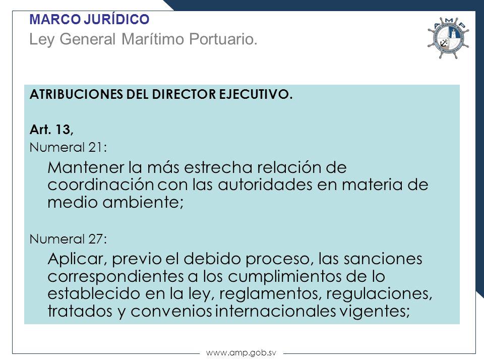 www.amp.gob.sv ATRIBUCIONES DEL DIRECTOR EJECUTIVO. Art. 13, Numeral 21: Mantener la más estrecha relación de coordinación con las autoridades en mate