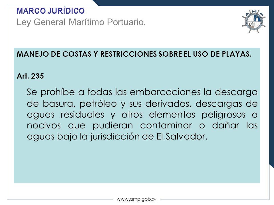 www.amp.gob.sv MARCO JURÍDICO Ley General Marítimo Portuario. MANEJO DE COSTAS Y RESTRICCIONES SOBRE EL USO DE PLAYAS. Art. 235 Se prohíbe a todas las