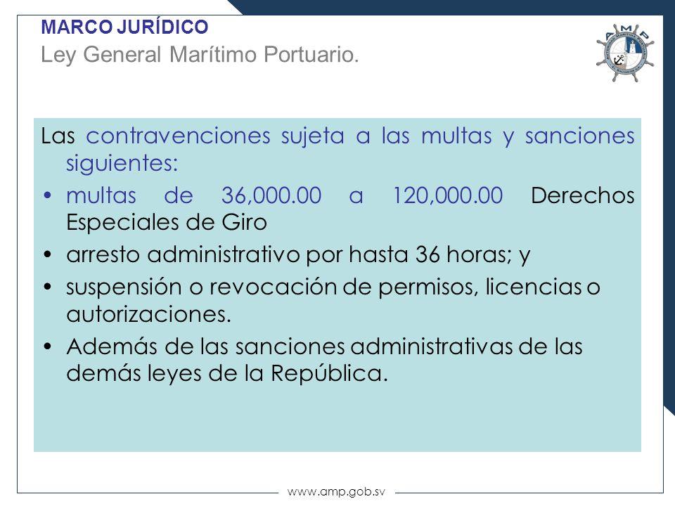 www.amp.gob.sv MARCO JURÍDICO Ley General Marítimo Portuario. Las contravenciones sujeta a las multas y sanciones siguientes: multas de 36,000.00 a 12