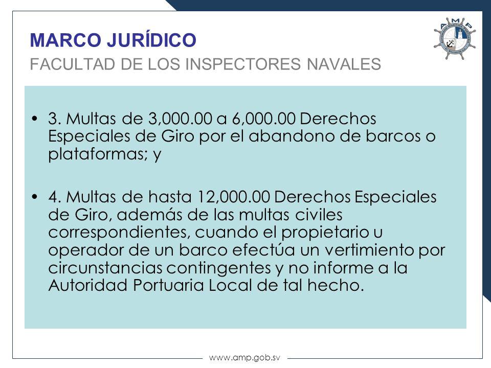 www.amp.gob.sv MARCO JURÍDICO FACULTAD DE LOS INSPECTORES NAVALES 3. Multas de 3,000.00 a 6,000.00 Derechos Especiales de Giro por el abandono de barc