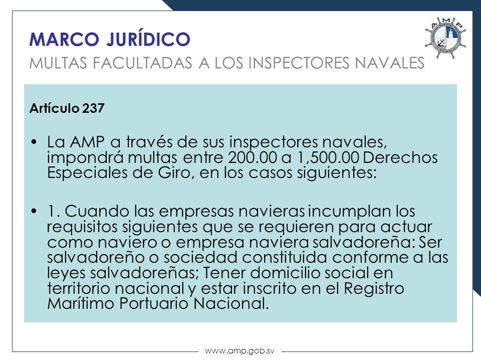www.amp.gob.sv MARCO JURÍDICO MULTAS FACULTADAS A LOS INSPECTORES NAVALES Artículo 237 La AMP a través de sus inspectores navales, impondrá multas ent