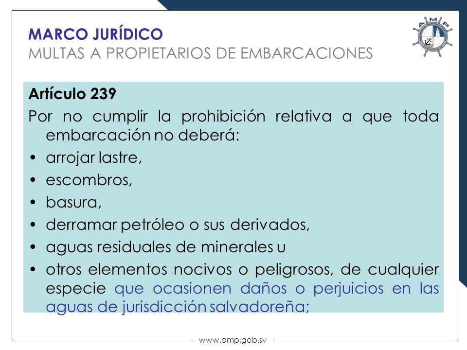 www.amp.gob.sv MARCO JURÍDICO MULTAS A PROPIETARIOS DE EMBARCACIONES Artículo 239 Por no cumplir la prohibición relativa a que toda embarcación no deb