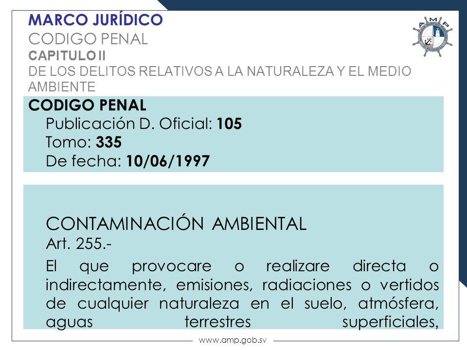 www.amp.gob.sv MARCO JURÍDICO CODIGO PENAL CAPITULO II DE LOS DELITOS RELATIVOS A LA NATURALEZA Y EL MEDIO AMBIENTE CODIGO PENAL Publicación D. Oficia