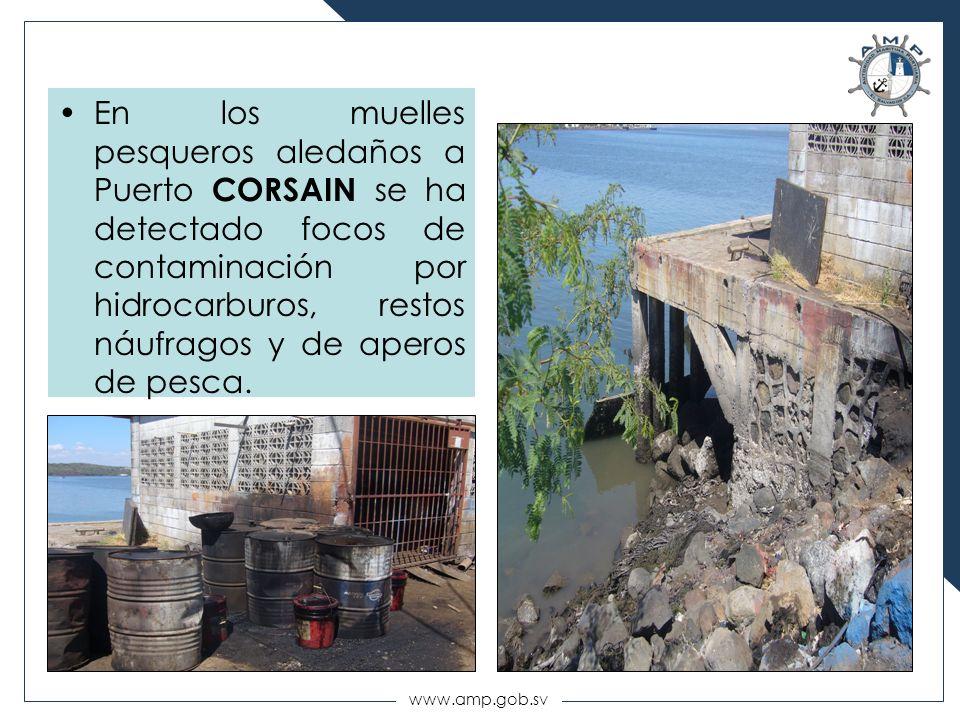 www.amp.gob.sv En los muelles pesqueros aledaños a Puerto CORSAIN se ha detectado focos de contaminación por hidrocarburos, restos náufragos y de aper