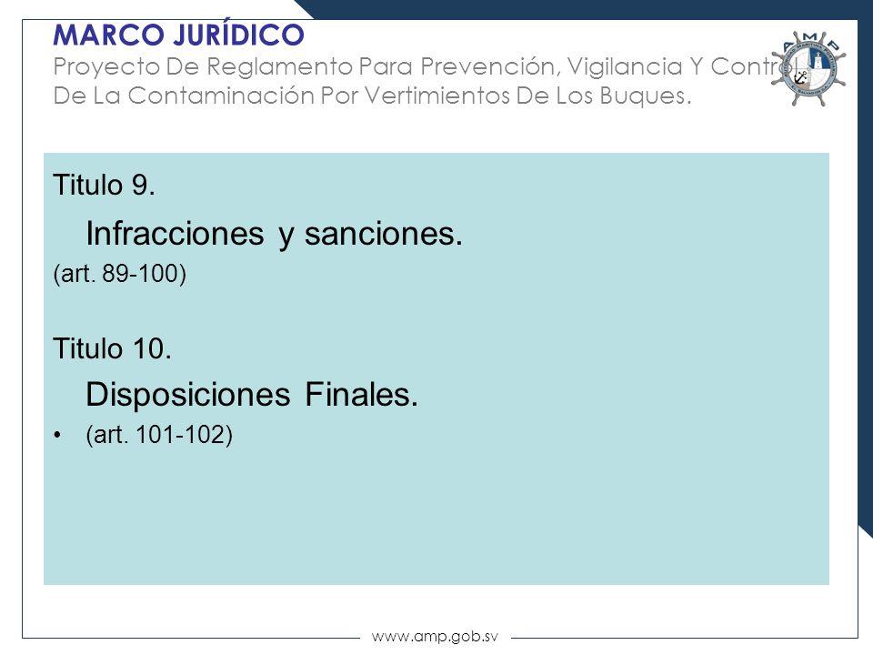 www.amp.gob.sv MARCO JURÍDICO Proyecto De Reglamento Para Prevención, Vigilancia Y Control De La Contaminación Por Vertimientos De Los Buques. Titulo