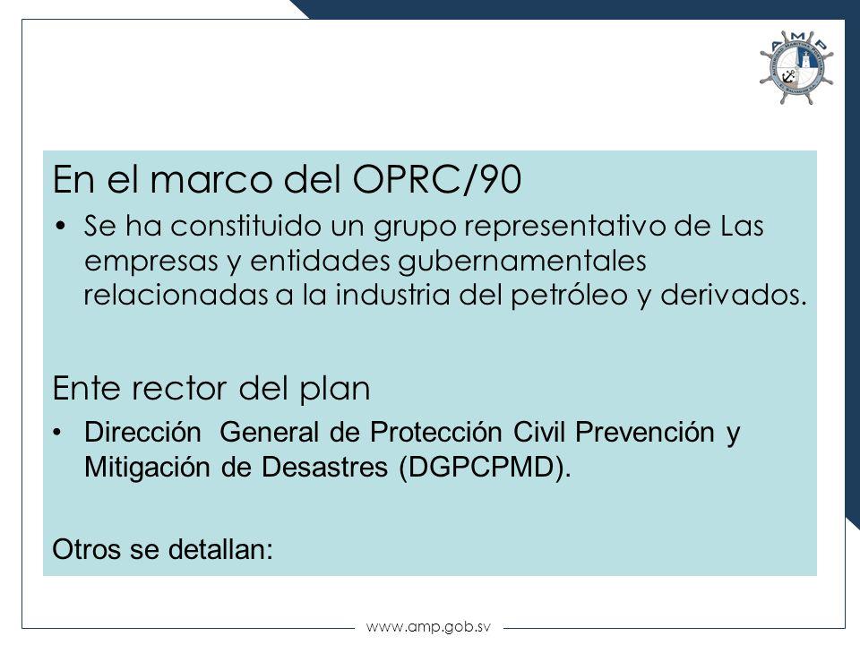 www.amp.gob.sv En el marco del OPRC/90 Se ha constituido un grupo representativo de Las empresas y entidades gubernamentales relacionadas a la industr