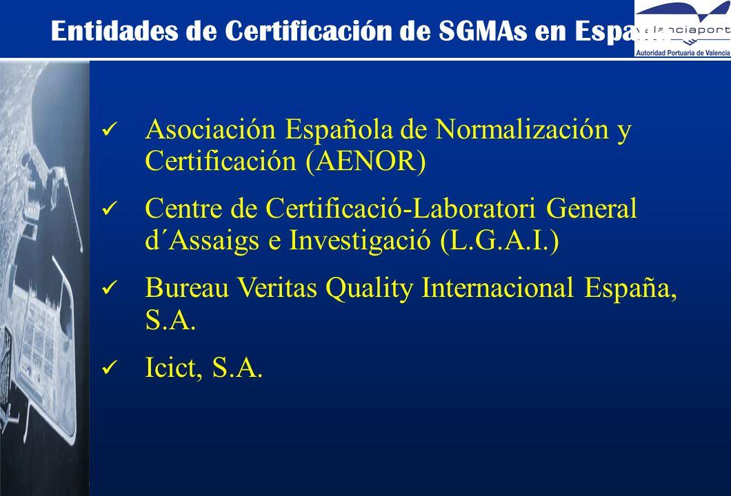 Entidades de Certificación de SGMAs en España Asociación Española de Normalización y Certificación (AENOR) Centre de Certificació-Laboratori General d´Assaigs e Investigació (L.G.A.I.) Bureau Veritas Quality Internacional España, S.A.