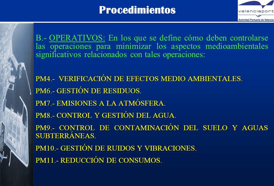 Procedimientos B.- OPERATIVOS: En los que se define cómo deben controlarse las operaciones para minimizar los aspectos medioambientales significativos relacionados con tales operaciones: PM4.- VERIFICACIÓN DE EFECTOS MEDIO AMBIENTALES.