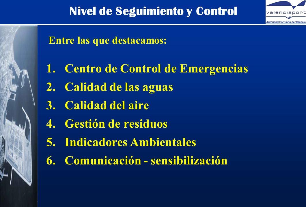 Nivel de Seguimiento y Control 1.Centro de Control de Emergencias 2.Calidad de las aguas 3.Calidad del aire 4.Gestión de residuos 5.Indicadores Ambientales 6.Comunicación - sensibilización Entre las que destacamos: