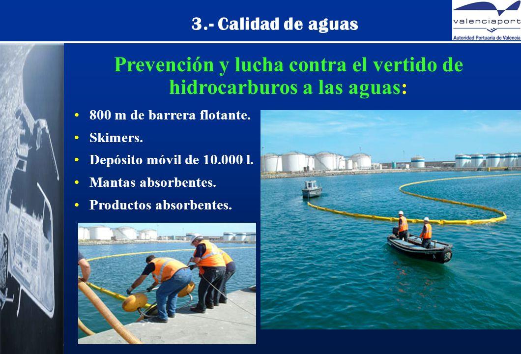 Prevención y lucha contra el vertido de hidrocarburos a las aguas: 800 m de barrera flotante.