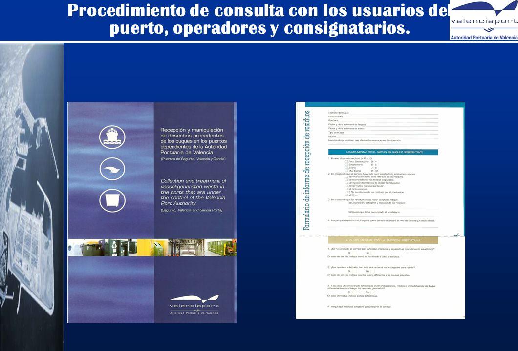 Procedimiento de consulta con los usuarios del puerto, operadores y consignatarios.