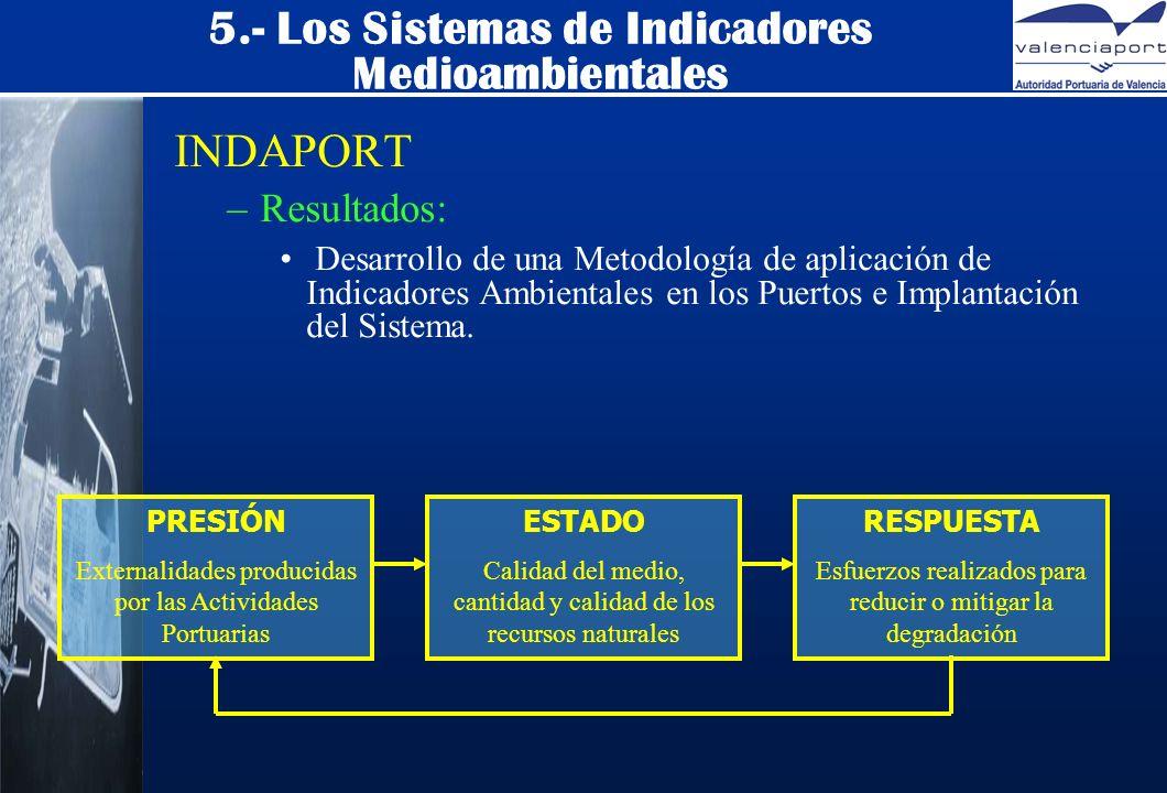 5.- Los Sistemas de Indicadores Medioambientales INDAPORT –Resultados: Desarrollo de una Metodología de aplicación de Indicadores Ambientales en los Puertos e Implantación del Sistema.