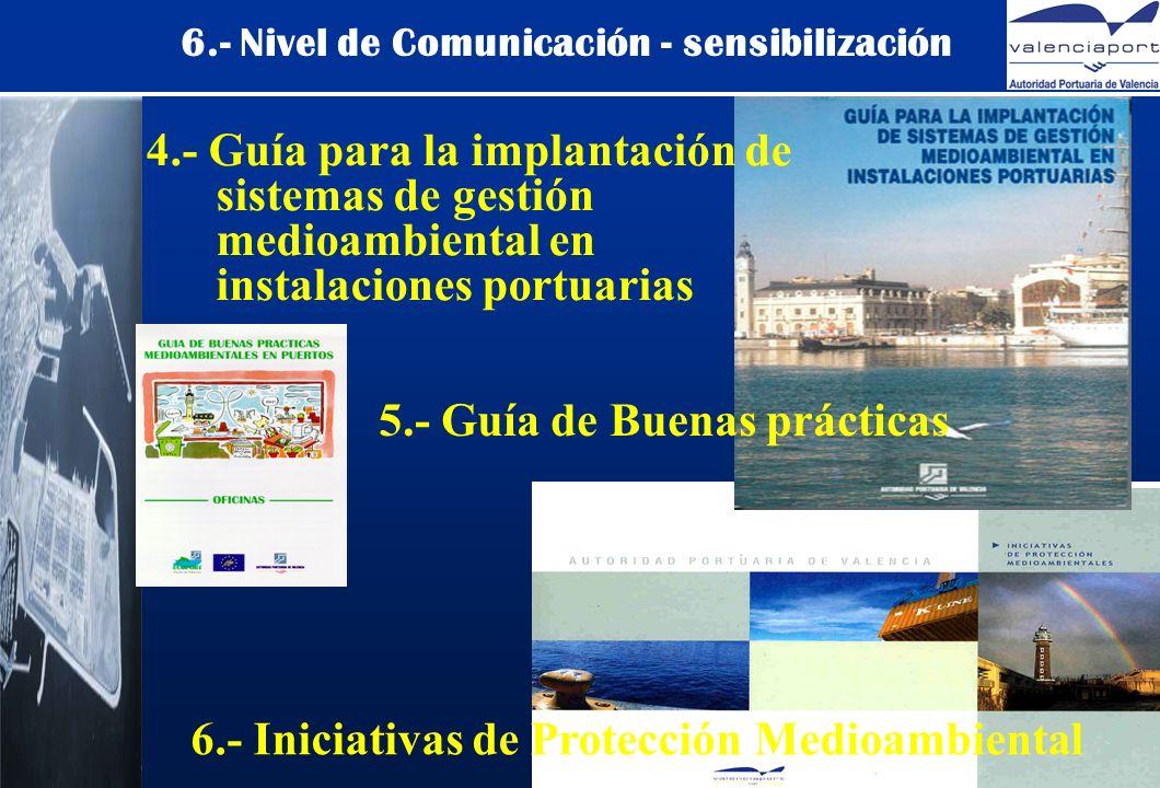 6.- Nivel de Comunicación - sensibilización 4.- Guía para la implantación de sistemas de gestión medioambiental en instalaciones portuarias 5.- Guía de Buenas prácticas 6.- Iniciativas de Protección Medioambiental