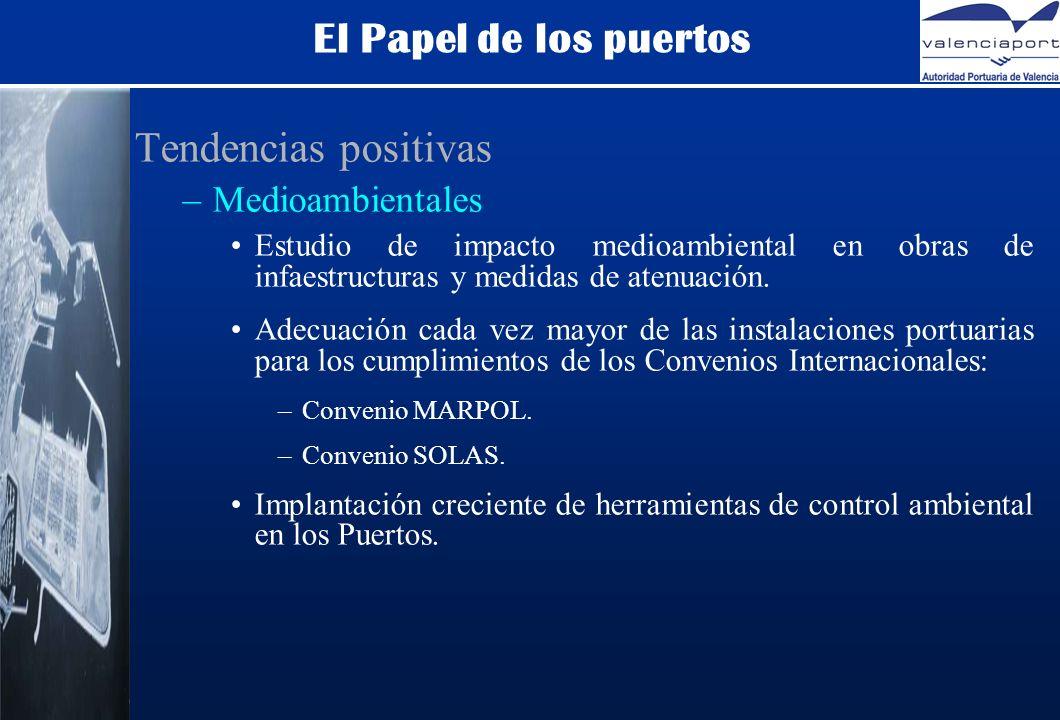 El Papel de los puertos Tendencias positivas –Medioambientales Estudio de impacto medioambiental en obras de infaestructuras y medidas de atenuación.