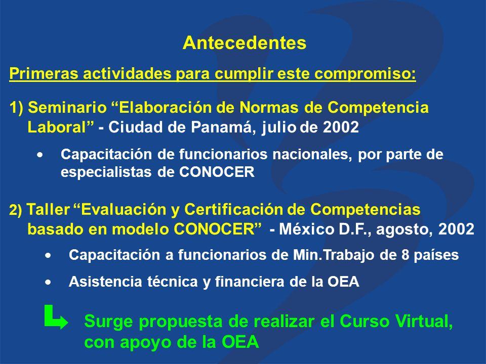 Primeras actividades para cumplir este compromiso: Surge propuesta de realizar el Curso Virtual, con apoyo de la OEA Antecedentes 1) Seminario Elaboración de Normas de Competencia Laboral - Ciudad de Panamá, julio de 2002 Capacitación de funcionarios nacionales, por parte de especialistas de CONOCER 2) Taller Evaluación y Certificación de Competencias basado en modelo CONOCER - México D.F., agosto, 2002 Capacitación a funcionarios de Min.Trabajo de 8 países Asistencia técnica y financiera de la OEA
