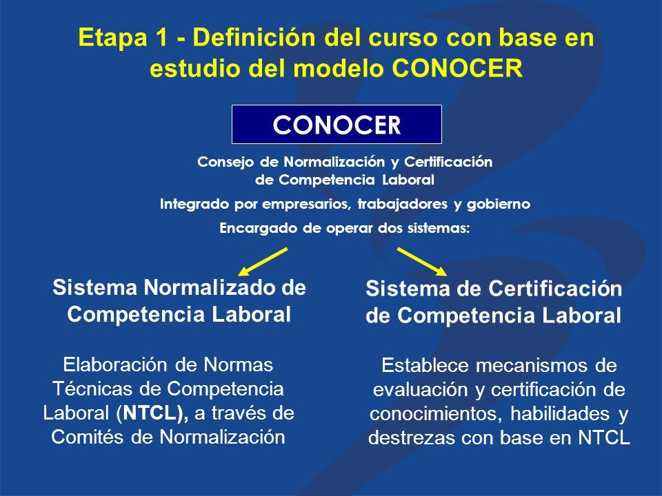 Etapa 1 - Definición del curso con base en estudio del modelo CONOCER Consejo de Normalización y Certificación de Competencia Laboral CONOCER Integrado por empresarios, trabajadores y gobierno Sistema Normalizado de Competencia Laboral Sistema de Certificación de Competencia Laboral Encargado de operar dos sistemas: Elaboración de Normas Técnicas de Competencia Laboral (NTCL), a través de Comités de Normalización Establece mecanismos de evaluación y certificación de conocimientos, habilidades y destrezas con base en NTCL