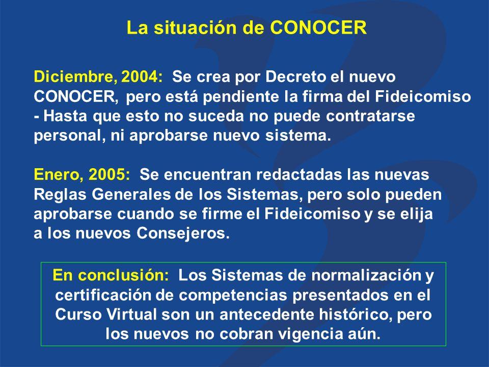 La situación de CONOCER Diciembre, 2004: Se crea por Decreto el nuevo CONOCER, pero está pendiente la firma del Fideicomiso - Hasta que esto no suceda no puede contratarse personal, ni aprobarse nuevo sistema.