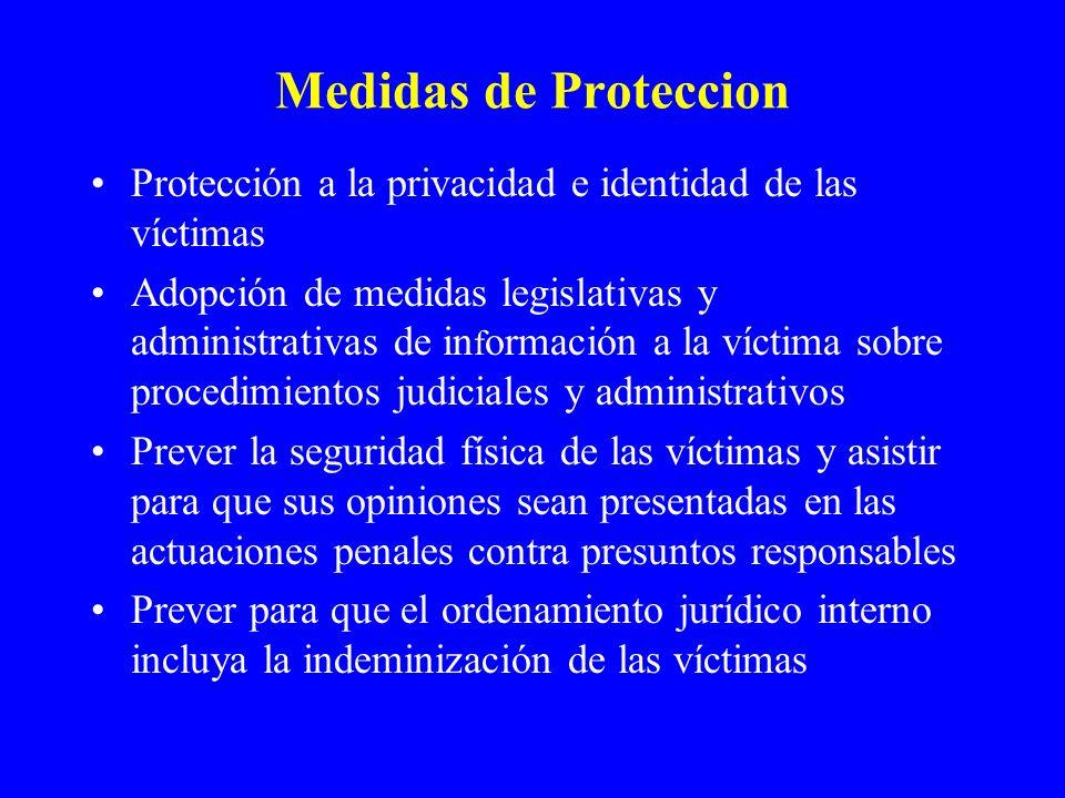 Medidas de Proteccion Protección a la privacidad e identidad de las víctimas Adopción de medidas legislativas y administrativas de in f ormación a la