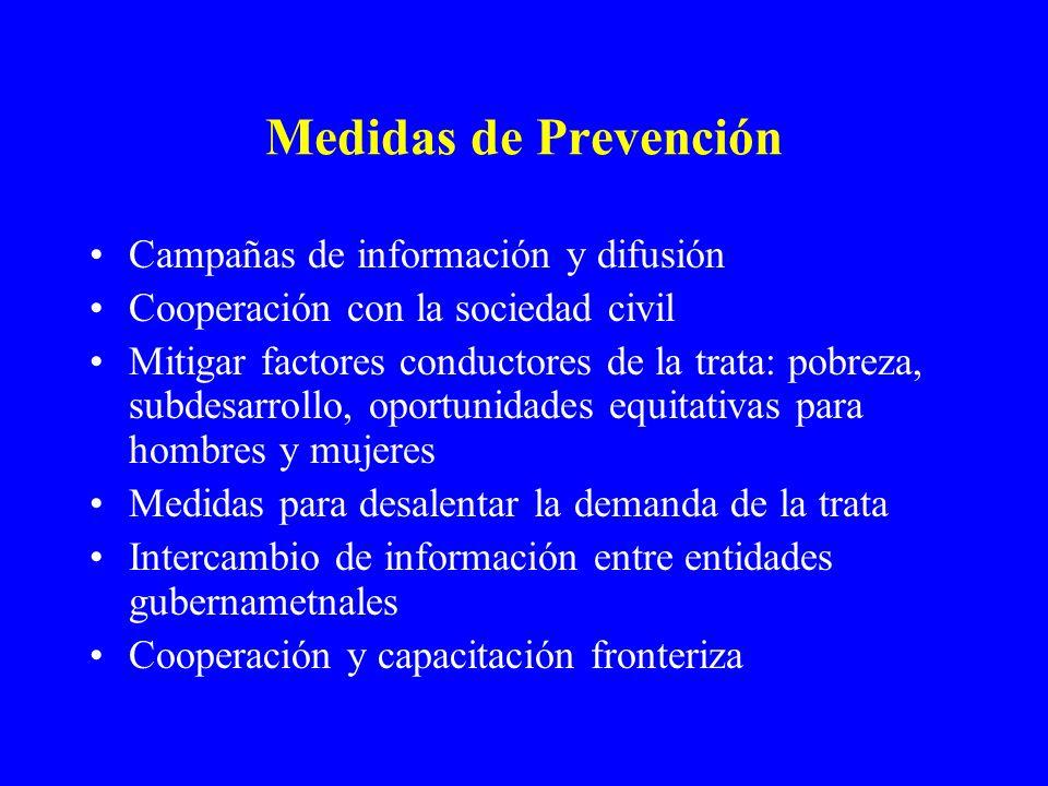 Medidas de Prevención Campañas de información y difusión Cooperación con la sociedad civil Mitigar factores conductores de la trata: pobreza, subdesar