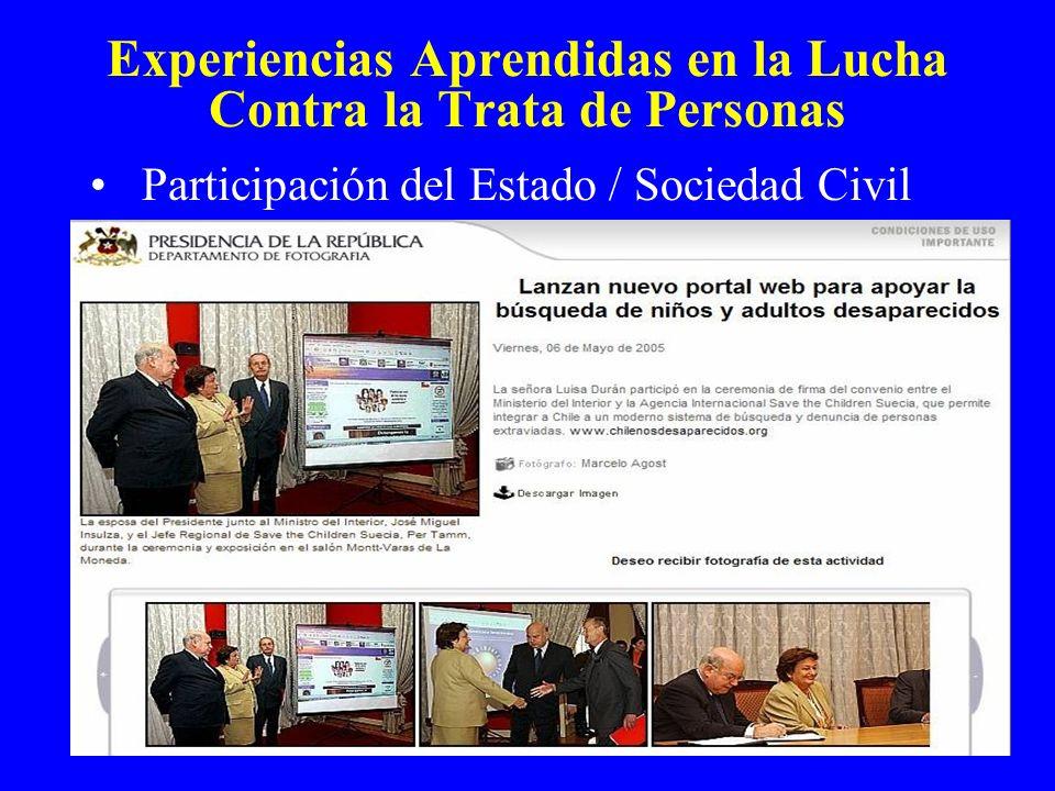 Experiencias Aprendidas en la Lucha Contra la Trata de Personas Participación del Estado / Sociedad Civil