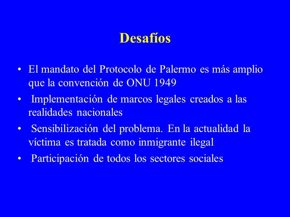 Desafíos El mandato del Protocolo de Palermo es más amplio que la convención de ONU 1949 Implementación de marcos legales creados a las realidades nac