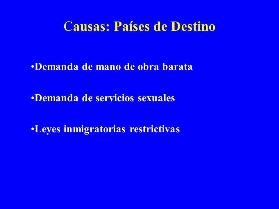 Causas: Países de Destino Demanda de mano de obra barata Demanda de servicios sexuales Leyes inmigratorias restrictivas