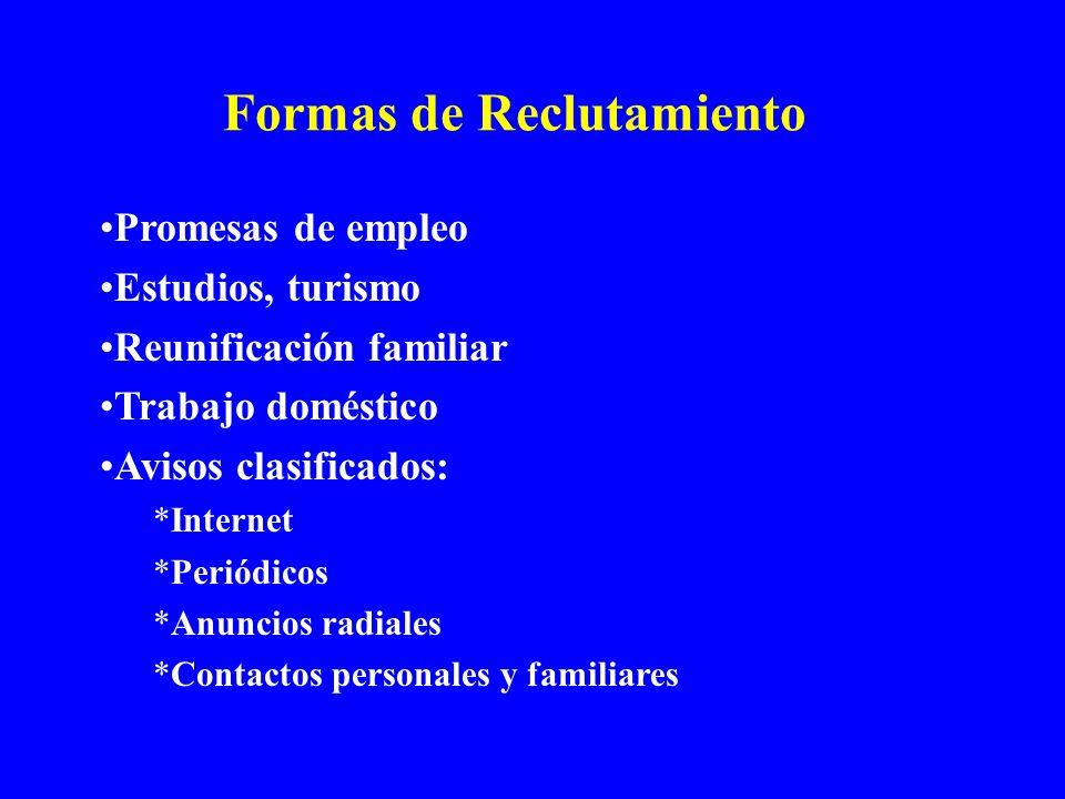 Formas de Reclutamiento Promesas de empleo Estudios, turismo Reunificación familiar Trabajo doméstico Avisos clasificados: *Internet *Periódicos *Anun