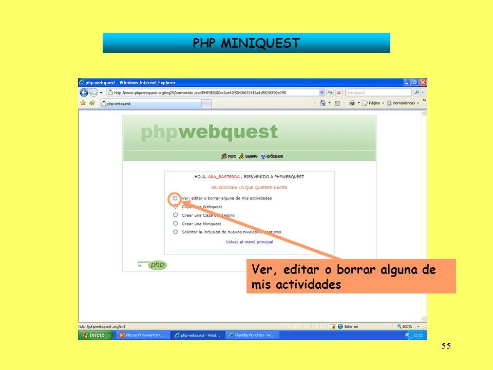 55 PHP MINIQUEST Ver, editar o borrar alguna de mis actividades