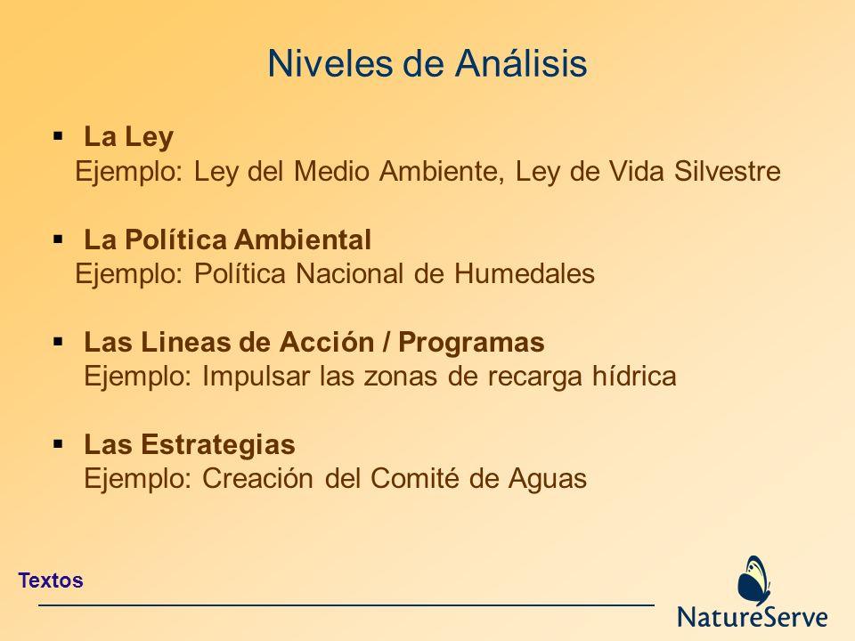 Niveles de Análisis La Ley Ejemplo: Ley del Medio Ambiente, Ley de Vida Silvestre La Política Ambiental Ejemplo: Política Nacional de Humedales Las Li