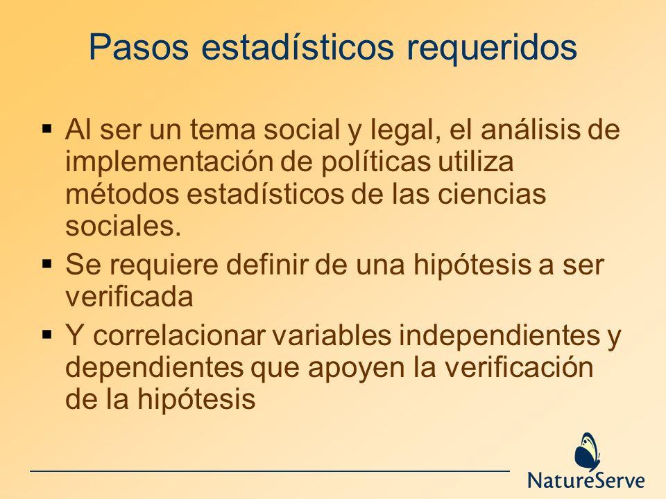 Pasos estadísticos requeridos Al ser un tema social y legal, el análisis de implementación de políticas utiliza métodos estadísticos de las ciencias s