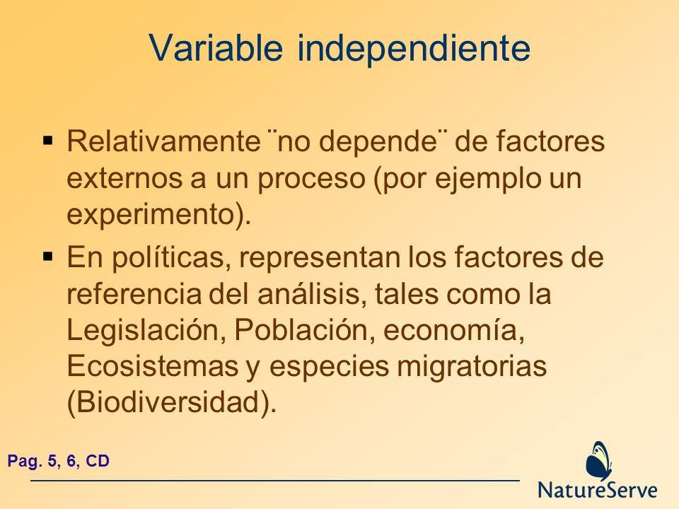 Variable independiente Relativamente ¨no depende¨ de factores externos a un proceso (por ejemplo un experimento). En políticas, representan los factor