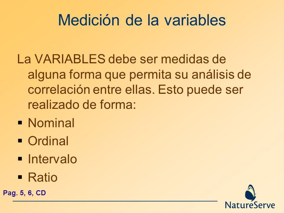 Medición de la variables La VARIABLES debe ser medidas de alguna forma que permita su análisis de correlación entre ellas. Esto puede ser realizado de