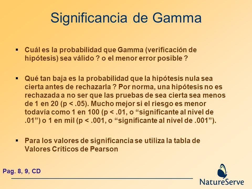 Significancia de Gamma Cuál es la probabilidad que Gamma (verificación de hipótesis) sea válido ? o el menor error posible ? Qué tan baja es la probab