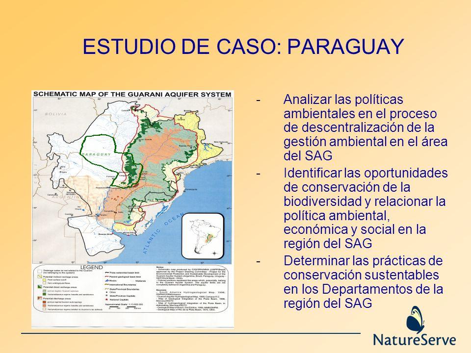 ESTUDIO DE CASO: PARAGUAY -Analizar las políticas ambientales en el proceso de descentralización de la gestión ambiental en el área del SAG -Identific
