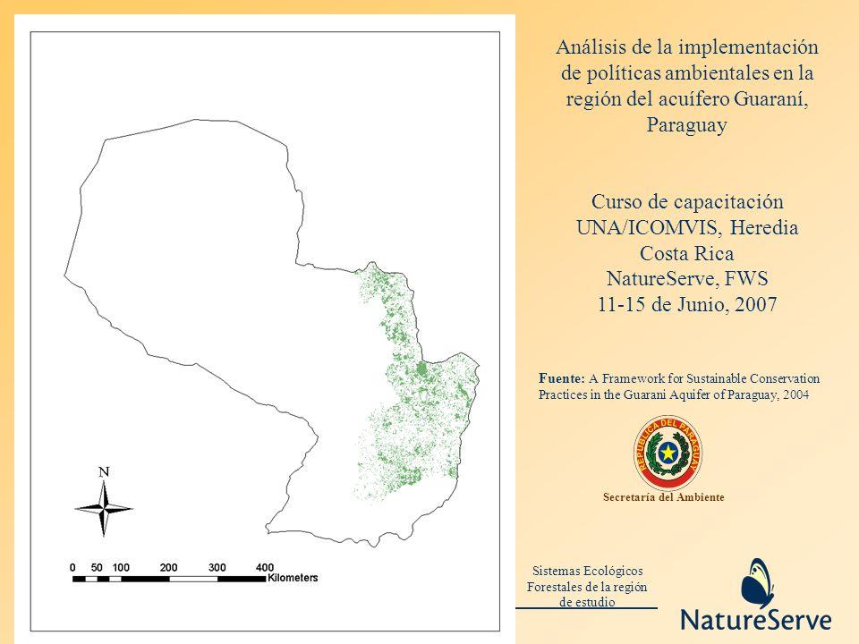 Sistemas Ecológicos Forestales de la región de estudio Secretaría del Ambiente Análisis de la implementación de políticas ambientales en la región del